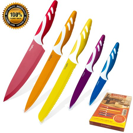 Knife Set 5 Pieces Stainless Steel NonStick Coating Blades Chef Slicer Bread Utility and Paring Knife for Housewarming Commercial Home Kitchen Blade Chefs Knife