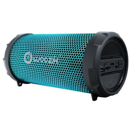 Woozik S213 Portable Loud Party Indoor Outdoor Bluetooth Speaker with  Dancing LED Lights, Micro SD Card, USB, AUX, FM Radio, Rechargeable Battery, Strap (LED-Black) Party Portable Bluetooth