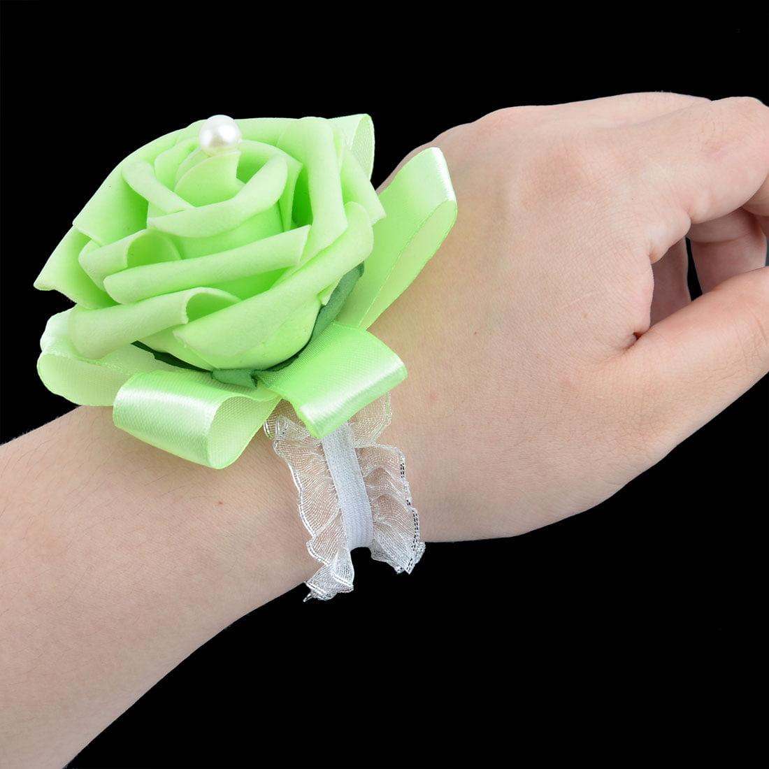 Unique Bargains Foam Rose Design Bridesmaid Hand Decorative Artificial Wrist Flower Light Green - image 2 of 3