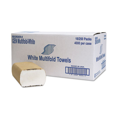 Multifold Towel, 1-Ply, White, 250/Pack, 16 Packs/Carton, Sold as 1 Carton, 16 Package per Carton