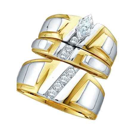 10kt Yellow Gold His Hers Marquise Solitaire Matching Bridal