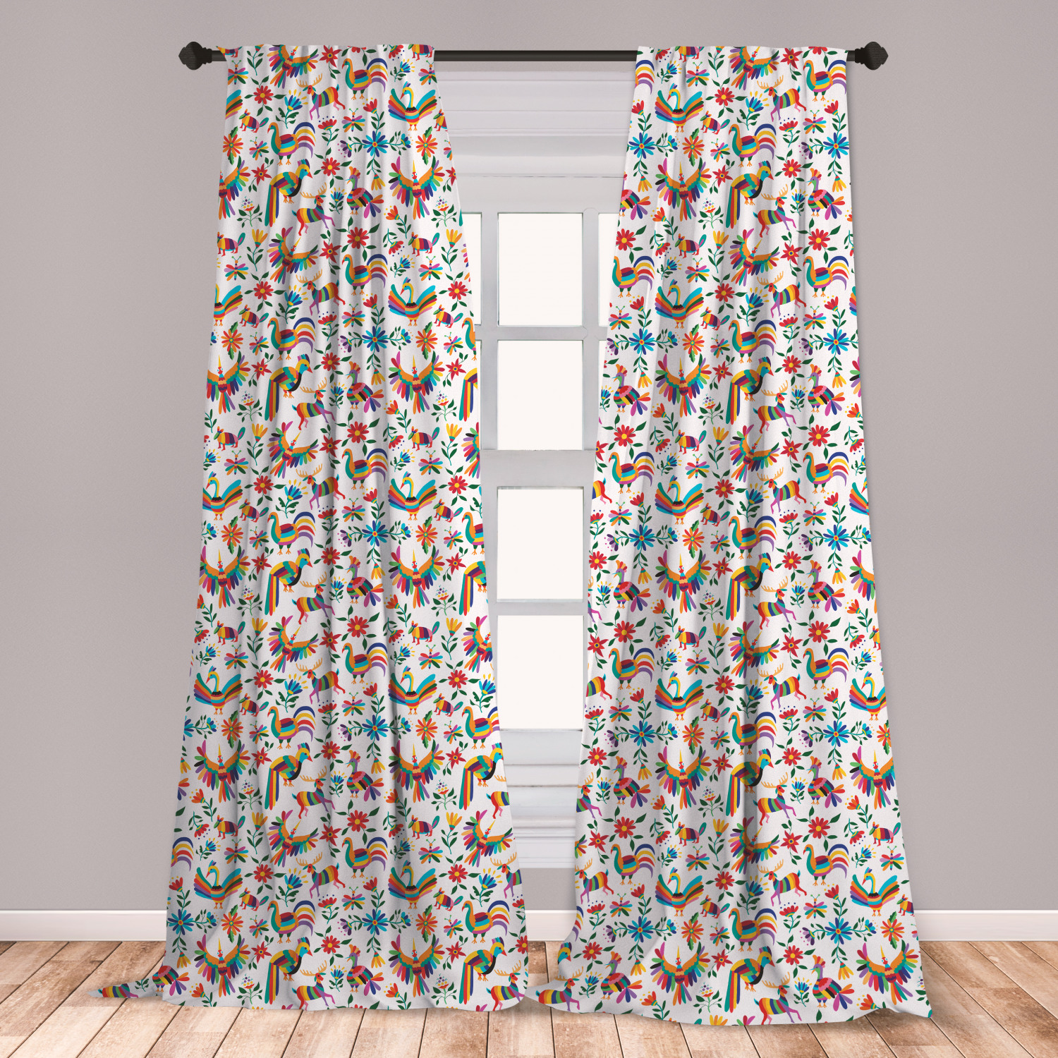 Mexican Curtains 2 Panels Set, Traditional Latin American