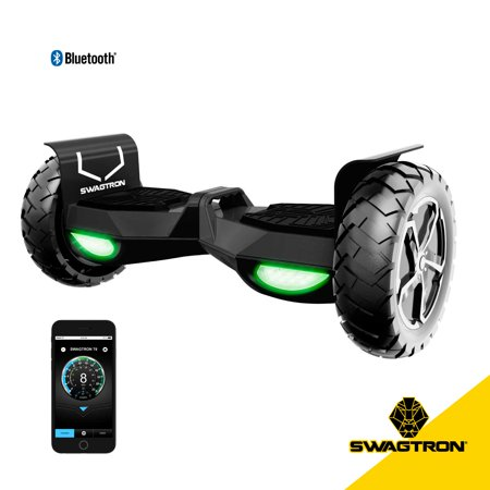 SWAGTRON Swagboard Outlaw Off-Road T6 Hoverboard - Handles Over 380 LBS, Up to 12 MPH, Bluetooth Speaker, 10u0022 Wheel