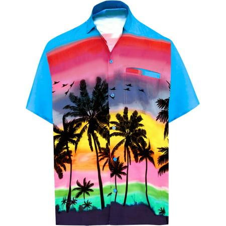 - Hawaiian Shirt Mens Beach Aloha Camp Party Casual Holiday Short Sleeve Palm Tree Print O