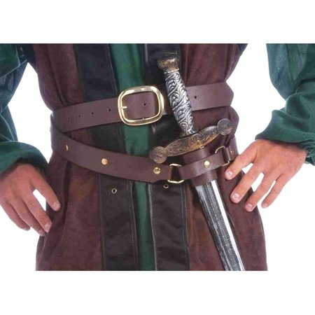 Deadpool Belt Cosplay (Medieval Double Wrap Belt with Scabbard Adult Costume Accessory, This Medieval belt includes a double wrap faux leather belt with scabbard (sheath) By Forum)