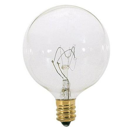 2Pk - Satco S3727 25W 120V Globe G16.5 Clear E12 Incandescent Light Bulb
