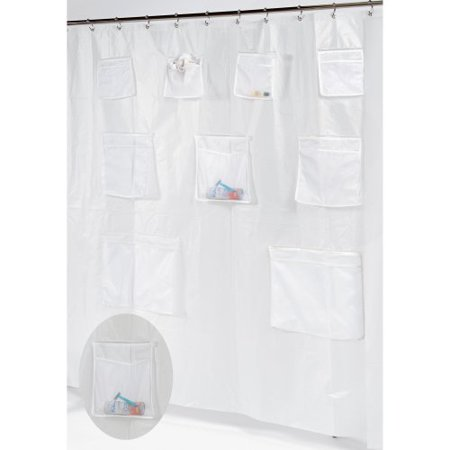 Carnation Home Fashions Pockets Peva Shower Curtain Liner With 9 Mesh Storage Pockets