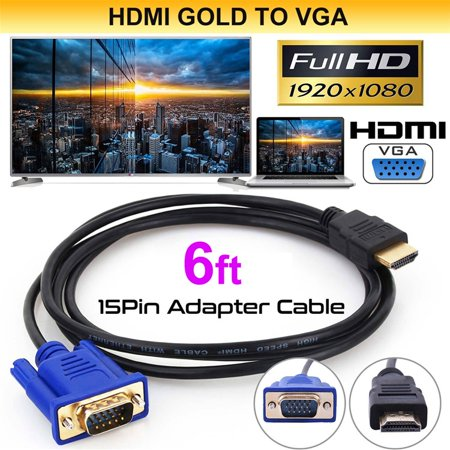 Hd15 Video Cable - 1.8m HDMI to VGA Cable HD-15 D-SUB Video Adapter HDMI Cables for PC HDTV Monitor