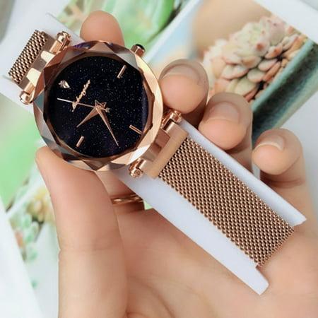Bling Starry Sky Female Wrist Watch Analogue Quartz Wristwatch Bracelet Magnetic Mesh Band for Ladies Quartz Bling Watch