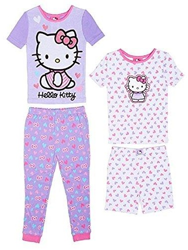 Komar Kids Girls' 4 Piece Pajamas Sleepwear Set with Shorts and Pants
