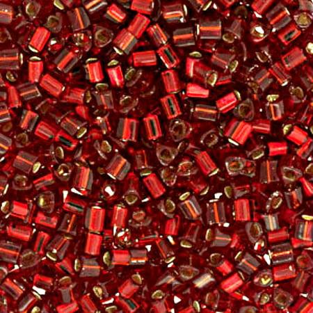Size 11 Toho Triangle Beads, Ruby Silver Lined (1 ounce)