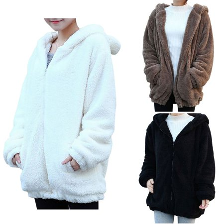 efinny cute bear ear panda winter warm hoodie coat women. Black Bedroom Furniture Sets. Home Design Ideas
