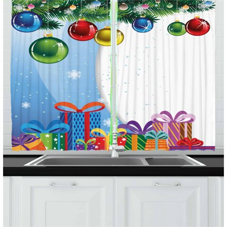 christmas curtains 2 panels set colorful surprise present boxes bowties and vibrant xmas balls fir