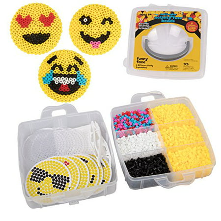Emoji Smiley Face Fuse Beads - 6 Different Emojis - 3600pcs Beads (6 Colors), Tweezers, Peg Boards, Ironing Paper, Case - Works with Perler