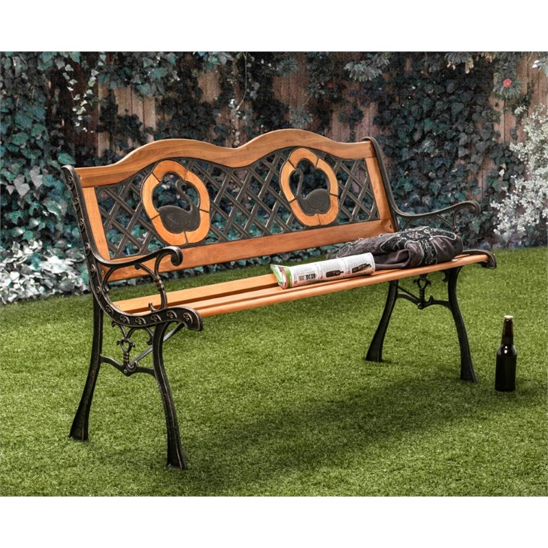 Furniture of America Kade Patio Bench in Black