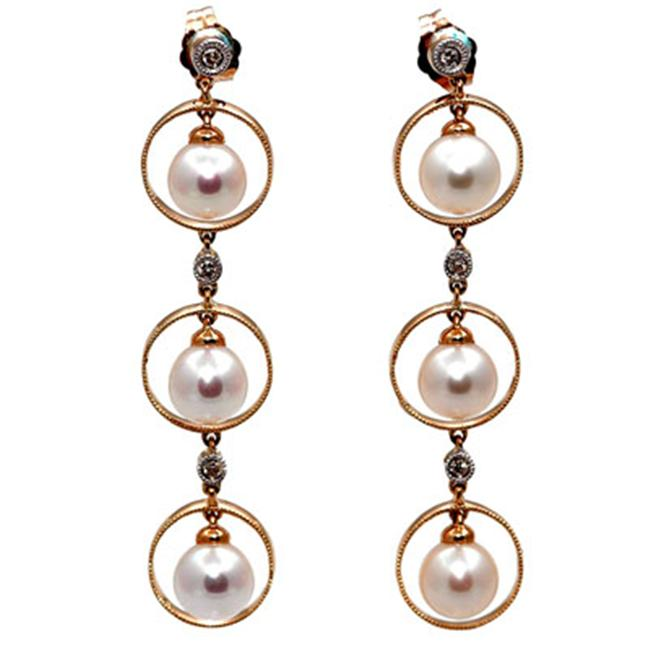 14K Gold Diamond Triple Circle Dangle Earrings With White Cultured Pearls