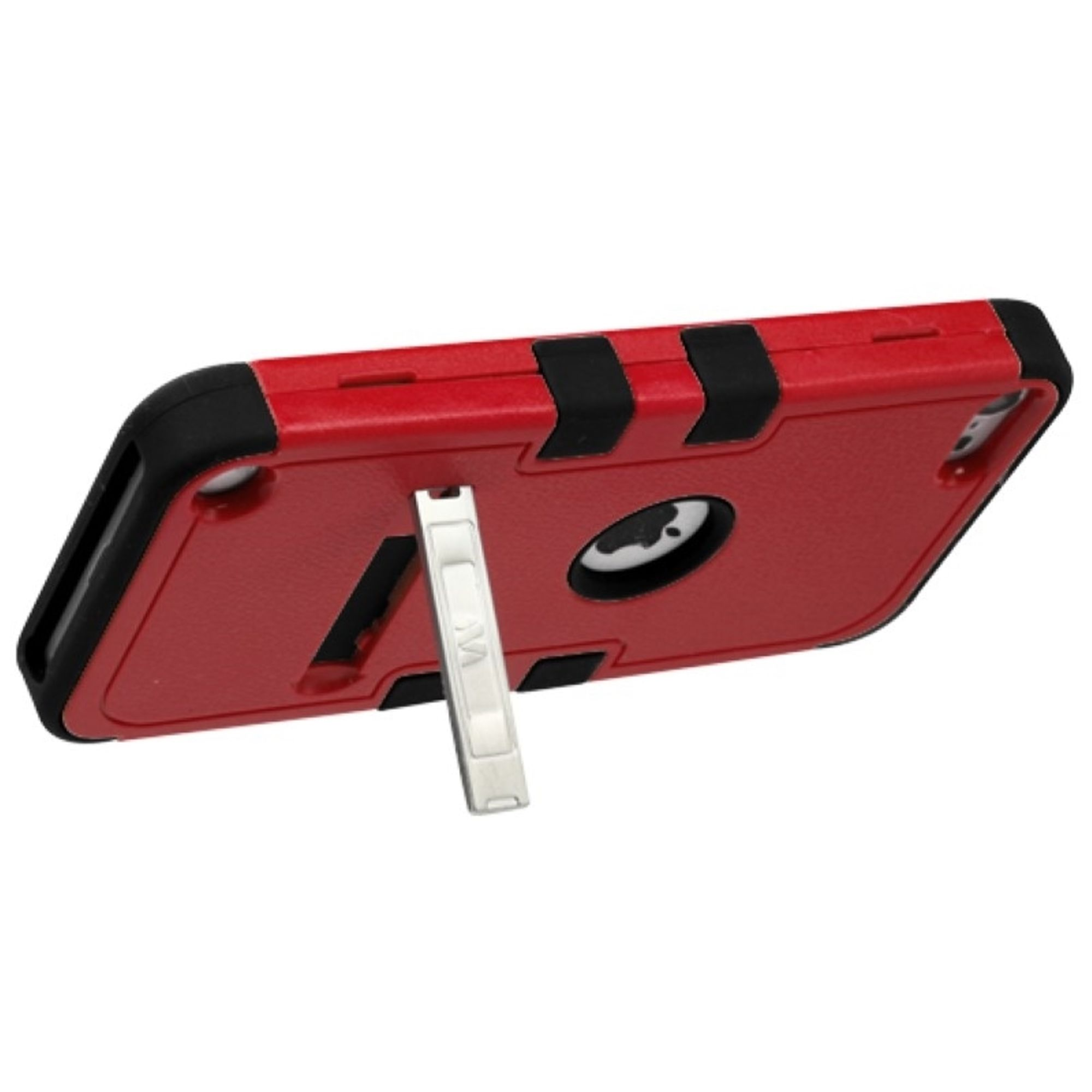 Insten Natural Red/Black TUFF Hybrid Soft Hard Phone Case (with Stand) For APPLE iPod Touch 6 6th 5 5th Gen