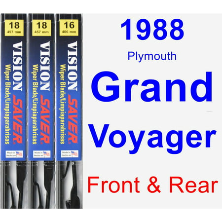1988 Plymouth Grand Voyager Wiper Blade Set/Kit (Front & Rear) (3 Blades) - Vision Saver