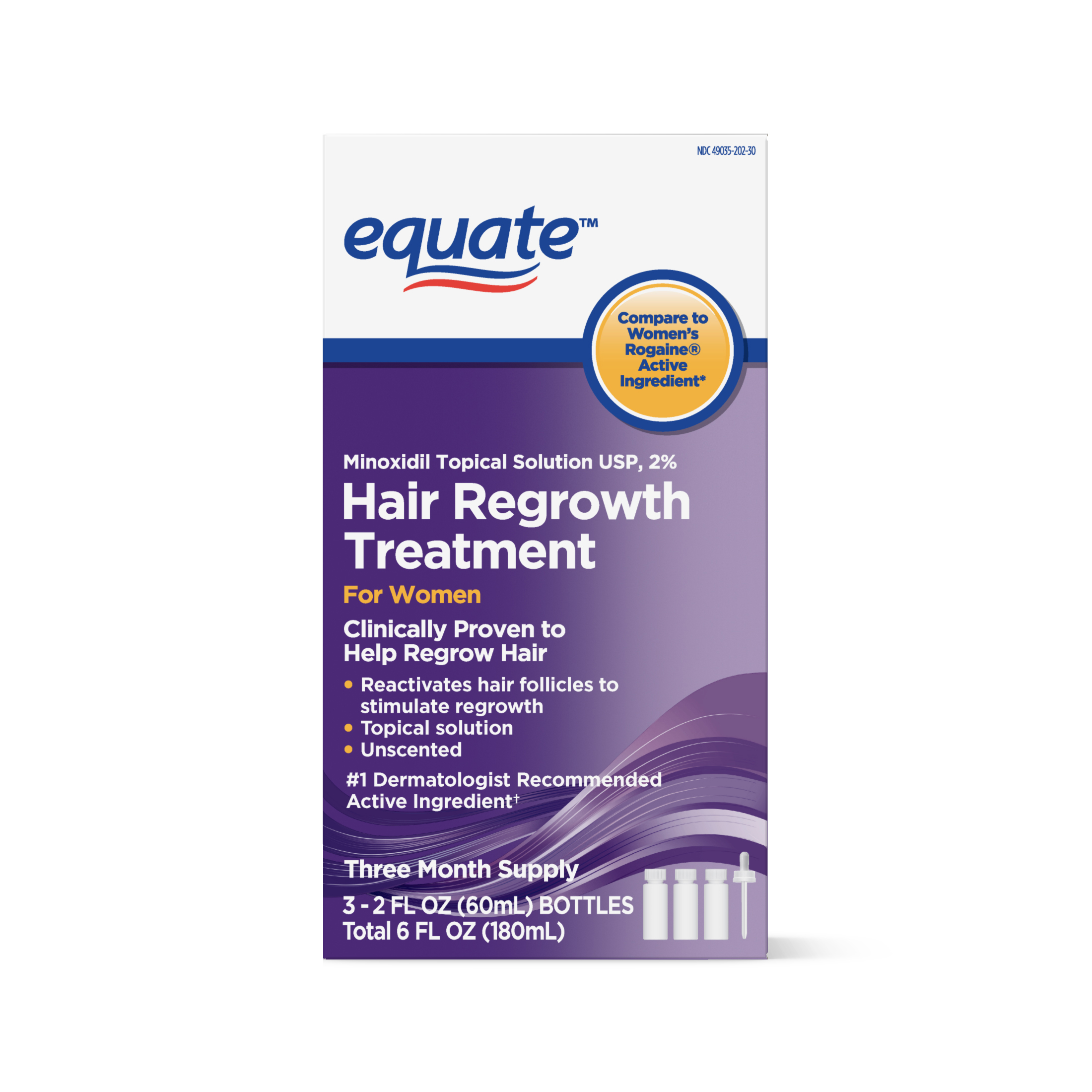 Equate Women's Minoxidil Hair Regrowth Treatment, 3-Month Supply