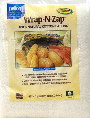 45 by 36-Inch 1 Pack Natural Pellon Wrap-N-Zap Cotton Quilt Batting