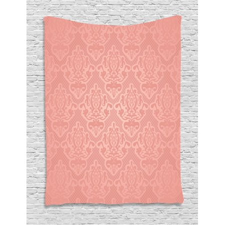 Peach Tapestry, Lace Style Background with Antique Wedding Inspiration Motifs Ornamental Vintage Design, Wall Hanging for Bedroom Living Room Dorm Decor, Coral, by Ambesonne