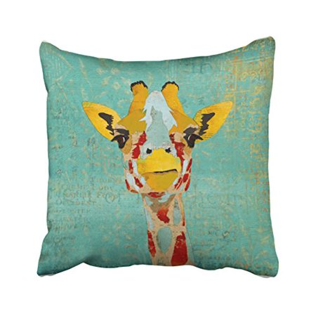 WinHome Gold Multicolor Giraffes Overlooking Watercolor Mint Green Background Polyester 18 x 18 Inch Square Throw Pillow Covers With Hidden Zipper Home Sofa Cushion Decorative Pillowcases ()