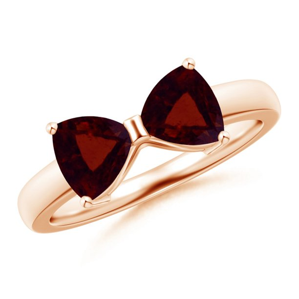 Valentine Jewelry Gift - Two Stone Trillion Garnet Bow Tie Ring in 14K Rose Gold (6mm Garnet) - SR1094G-RG-A-6-8.5