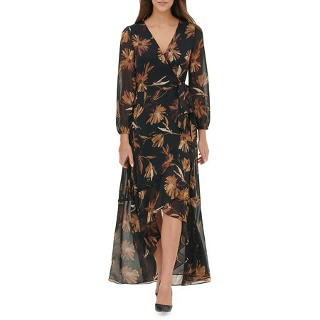 Miranda Floral Chiffon High-Low Maxi Dress