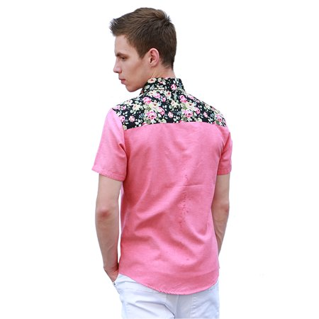 86ac6762c74e1 Men Summer Floral Pocket Short Sleeve Button Down Hawaiian Shirt Fuchsia L  - image 1 of ...