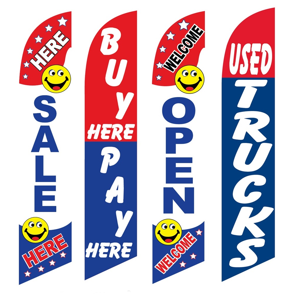 4 Advertising Swooper Flags Sale Here Buy Pay Here Welcome Open Used Trucks
