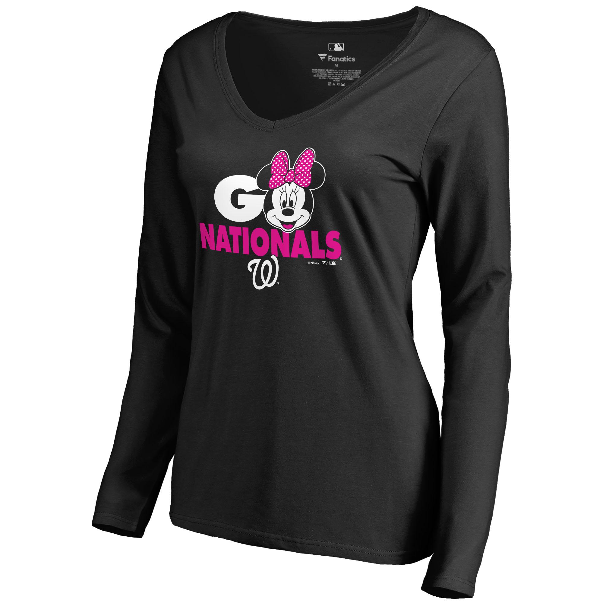Washington Nationals Fanatics Branded Women s Disney Rally Cry Minnie Long  Sleeve T-Shirt - Black - Walmart.com 808484b962