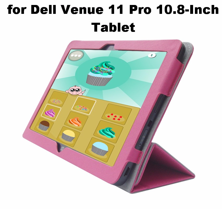 Pink Portfolio Leather Case Cover with Built In Stand ...