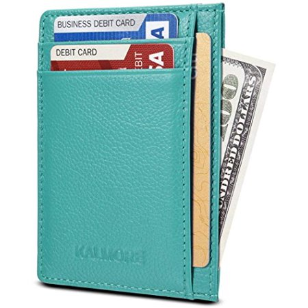Credit Card Holder Genuine Leather Slim & Thin Pocket Wallet Minimalist Wallet Money Clip RFID