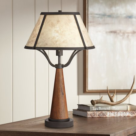Franklin Iron Works Rustic Table Lamp Warm Wood and Metal Light Mica Shade for Living Room Bedroom Nightstand Office - Metal Mica Table Lamp