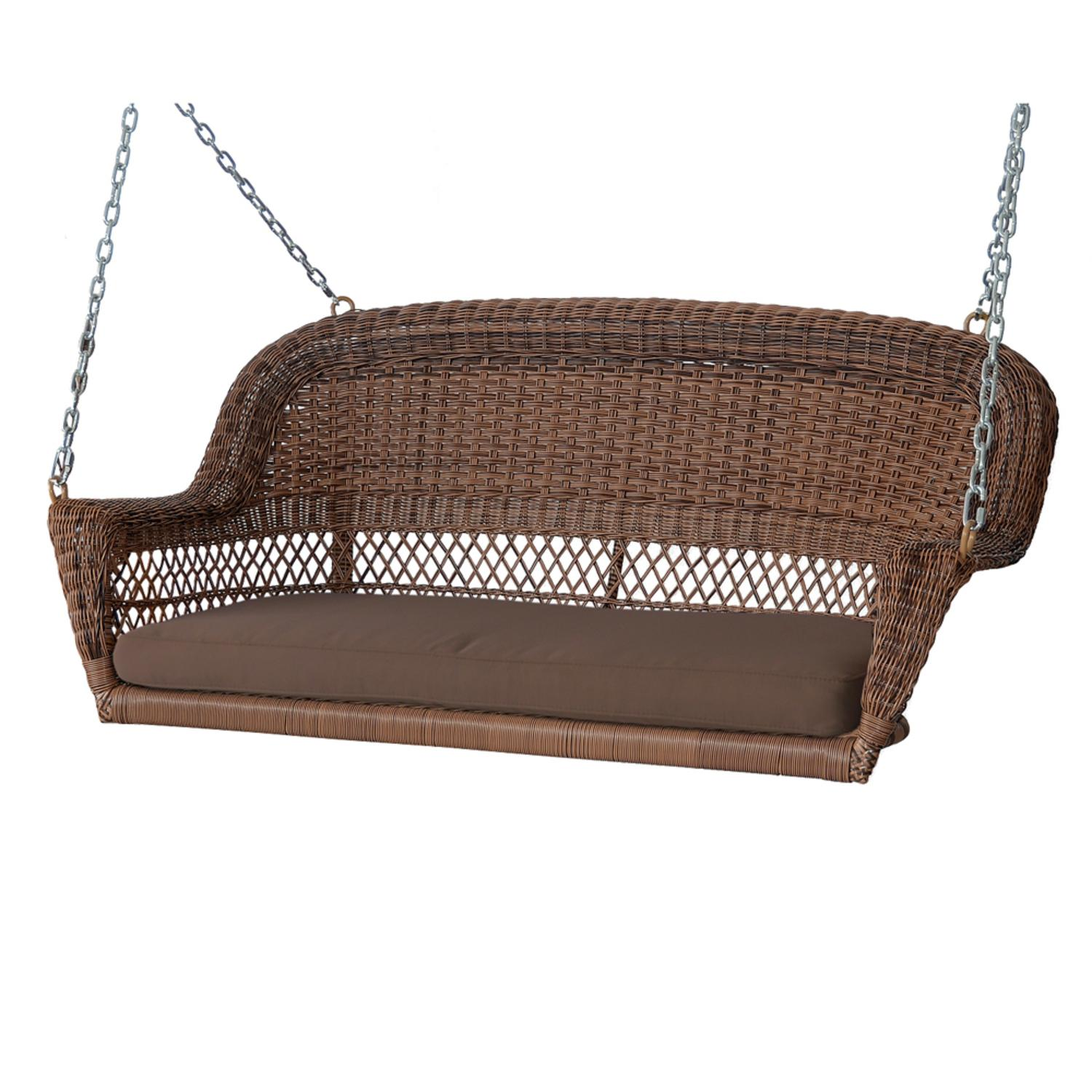 "51.5"" Hand Woven Honey Resin Wicker Outdoor Porch Swing with Brown Cushion by Porch Swings"