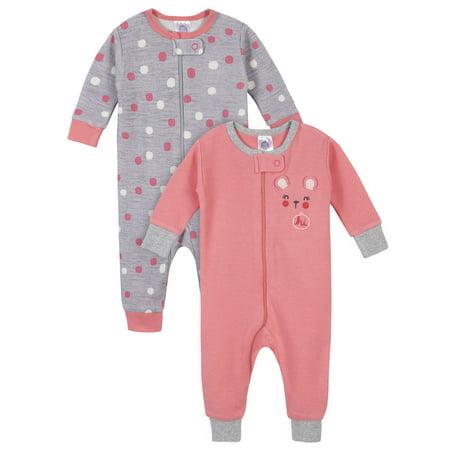 Gerber Baby Girl Thermal Footless Union Suit Pajamas, 2-Pack 2 Piece Thermal Long Pajamas