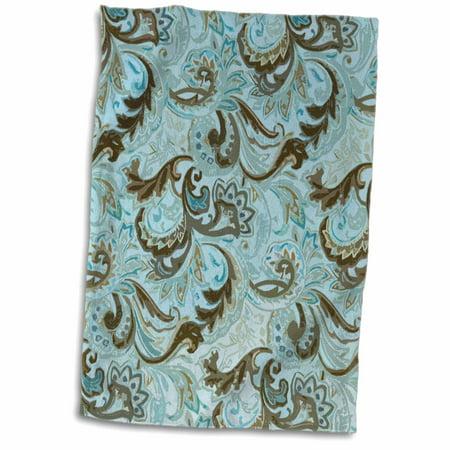 3D Rose Abstract Brown n Aqua Paisley twl 61890 1 Towel 15 x