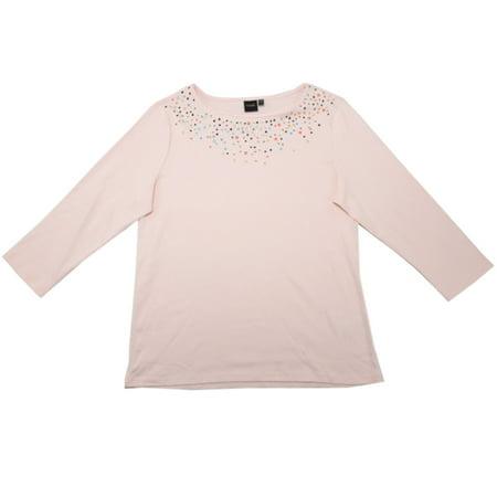 Rafaella Womens Size Large Embellished Knit Top, Chintz Rose