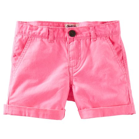 OshKosh B'gosh Big Girls' Twill Roll-Cuff Shorts - Bright Pink - 12 (Oshkosh Girls Shorts)