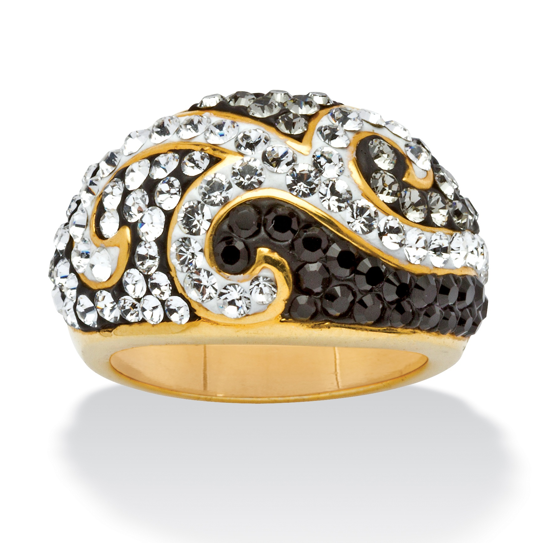 Jet Black, Grey and Crystal 18k Gold-Plated Scroll Ring made with Swarovski Elements