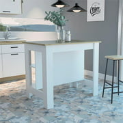 Tuhome Cala Kitchen Island With White Base and Light Oak Top