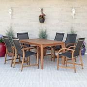 Amazonia Bahamas 7-Piece Rectangular Patio Dining Set | Eucalyptus Wood | Ideal for Outdoors and Indoors