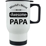 World's Most Awesome Papa - 14 oz Stainless Steel Travel Coffee Mug - For Father's Day - Gift for Dad, Grandpa, Grandfather, Husband