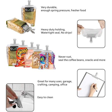 Set of 10 Heavy Duty Stainless Steel Chip Bag Clips,Great for Air Tight Seal Grip on Coffee & Food Bags, Kitchen Home Office Usage - image 2 of 9