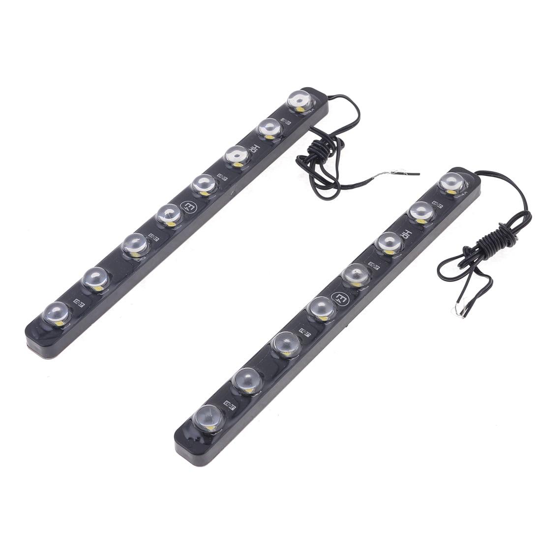 Unique Bargains 2PCS Waterproof 8 LED Turning Signal Eagle Eye Daytime Running Lights Balck