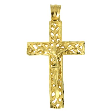14K Real Yellow Gold Filigree Diamond Cut Jesus Cross Crucifix - 14k Diamond Cut Filigree Cross