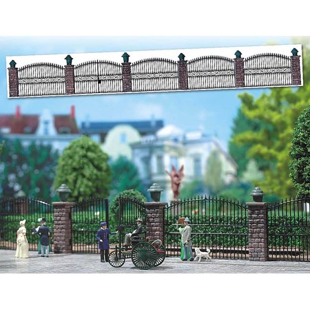Busch HO Scale Wrought Iron Fence w/Brick Posts Model Train Scenery Detail 6016