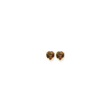 14k Quartz Stud - 14k Yellow Gold Heart Smoky Quartz Stylish Heart Stud Earrings