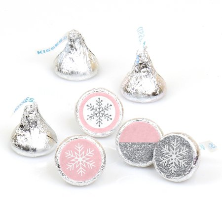 Pink Winter Wonderland - Holiday Snowflake Birthday or Baby Shower Round Candy Sticker Favors - Labels Fit Hershey](Snowflake Candy)