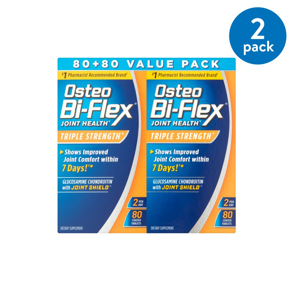 (2 Pack) Osteo Bi-Flex Glucosamine Chondroitin with Joint Shield Value Pack Coated Tablets, 160 count
